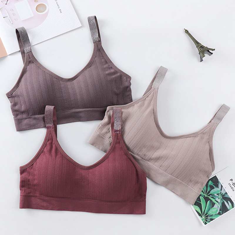 Fashion Tank Top Women Underwear Female Camisoles Tank Crop Tops Solid Color Cotton Lingerie Seamless Sexy Back Deep V Bralette