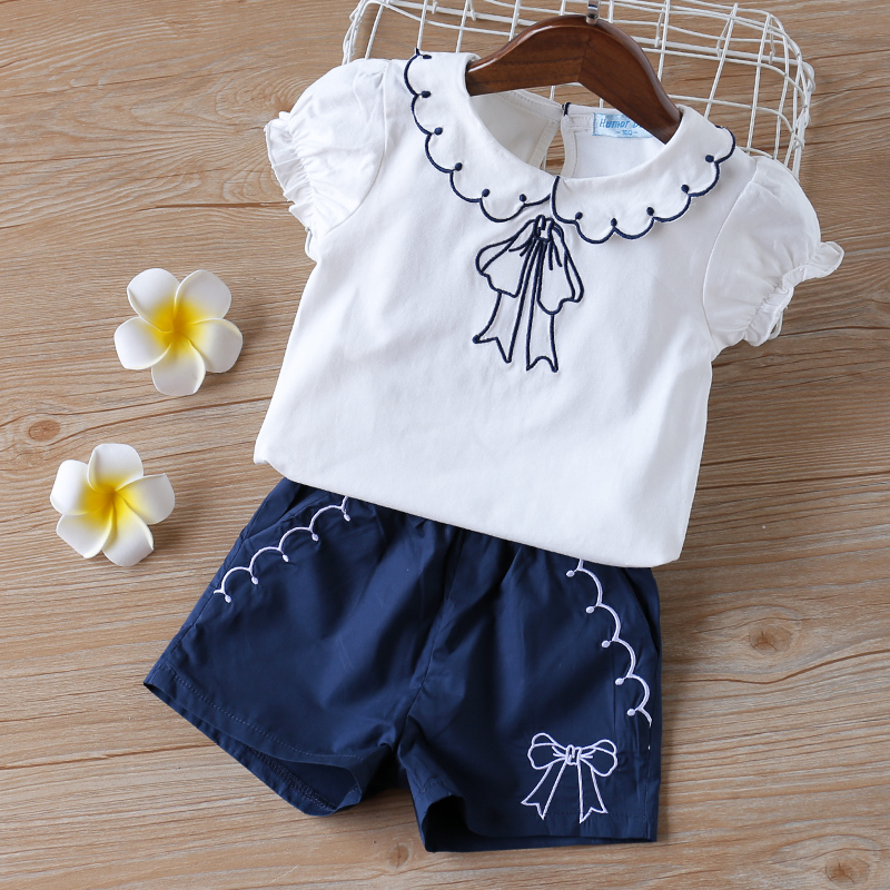 H60068842348f46ee9d7f0ecde3fd3c5ci - Humor Bear Baby Girl Clothes Hot Summer Children's Girls' Clothing Sets Kids Bay clothes Toddler Chiffon bowknot coat+Pants 1-4Y