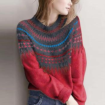 DugujunyiFashion Women's Spring Ethnic Style Sweater Patchwork O-Neck Long Sleeves Knitted Sweater Fashion casual Pretty sweater