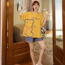 MELIFLE, в Корейском стиле; Сезон лето желтые пижамные комплекты для женщин 100% Хлопковая пижама сатиновая мягкая одежда для сна с Atoff Home Kawaii шелк...