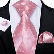 Fashion Plaid Pink Men's Tie Set 8cm Wedding Party 100% Silk Neck Tie Pocket Square Cufflinks Gravatas Gift For Men DiBanGu