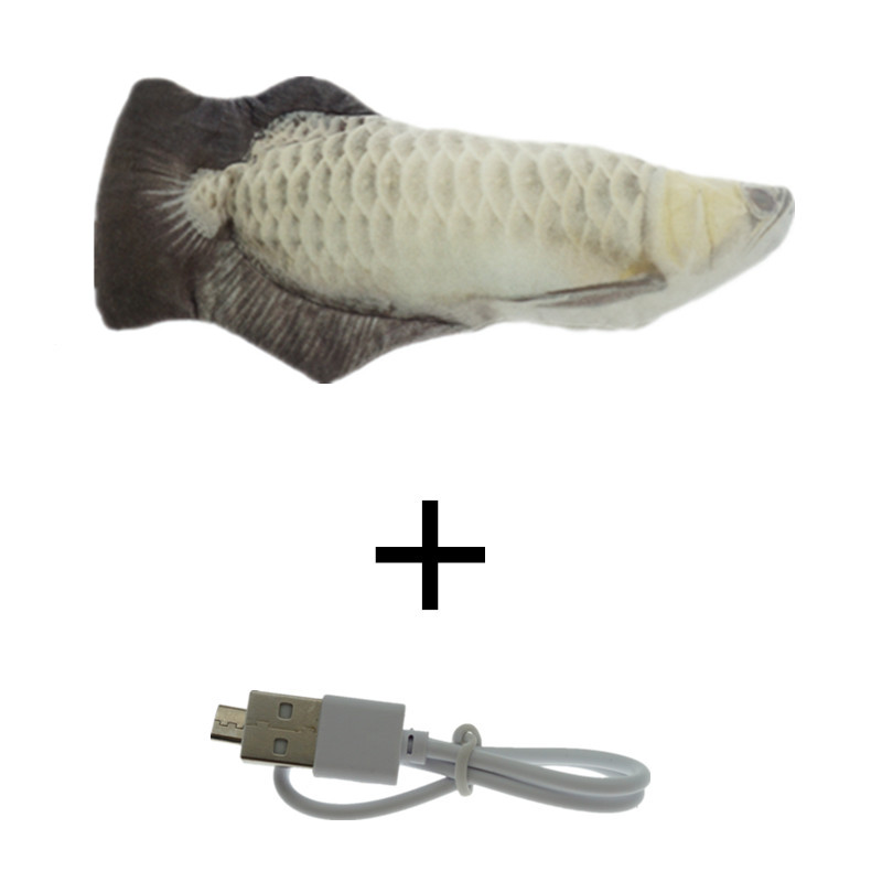 White-30CM Cat Toy Fish USB Electric Charging Simulation Dancing Jumping Moving Floppy Fish