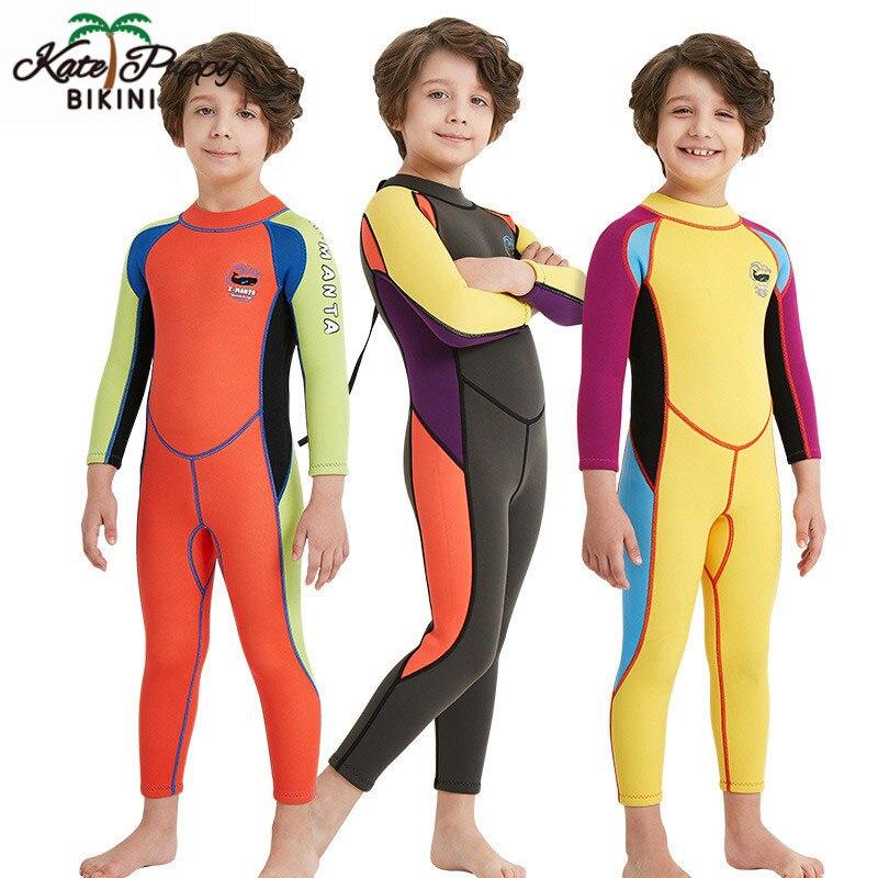 Enfants plongée surf costume 2.5MM néoprène combinaison enfants pour garçons garder au chaud une-pièce manches longues Protection UV maillots de bain