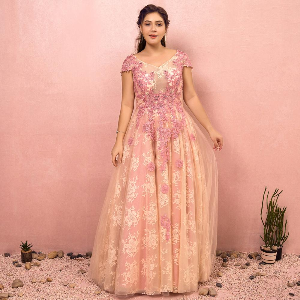 A-line V-neck Plus Size Tulle Lace Evening Dress Fairy Appliques Lace Beading Floor-length Dress Lace-up Capped Sleeves Dress