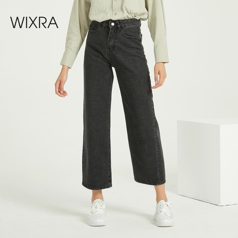 Wixra Loose Wide Leg Jeans Pants Pockets High Waist Stylish Basic Denim Trousers Spring Autumn Women's Clothing