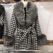 80 см длинные пальто с добавлением шерсти большой черно бурой