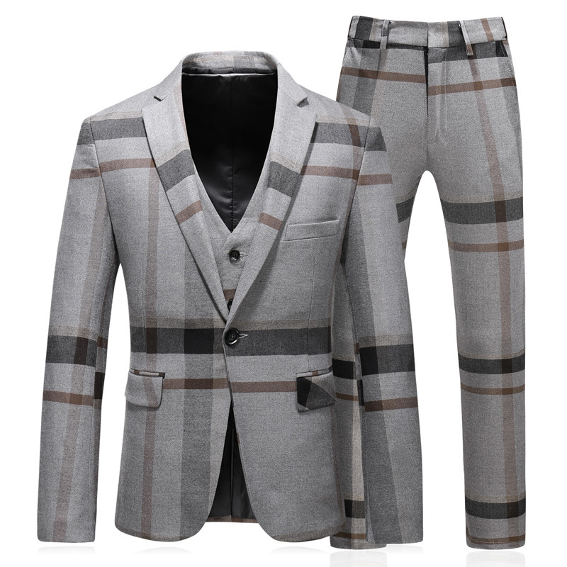 High Quality Brand Mens Suit Set Fashion Single Button Striped Blazer Coat Straight Pant 3 Pieces Sets Business Slim Fit Suits