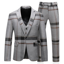 High Quality Brand Mens Suit Set Fashion Single Button Striped Blazer Coat Straight Pant 3 Pieces Sets Business Slim Fit Suits(China)