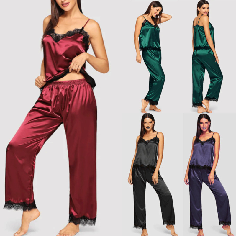 Hirigin Womens Ladies Satin Pyjama Set Silky Summer Spaghetti Strap Lace Patchwork Lounge Wear Pajamas Sleeveless Set
