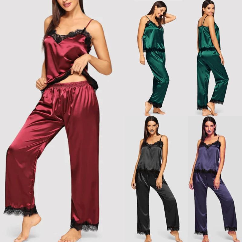 Hirigin Womens Ladies Satin Pyjama Set Silky Summer Spaghetti Strap Lace Patchwork Lounge Wear Pajamas Sleeveless Set