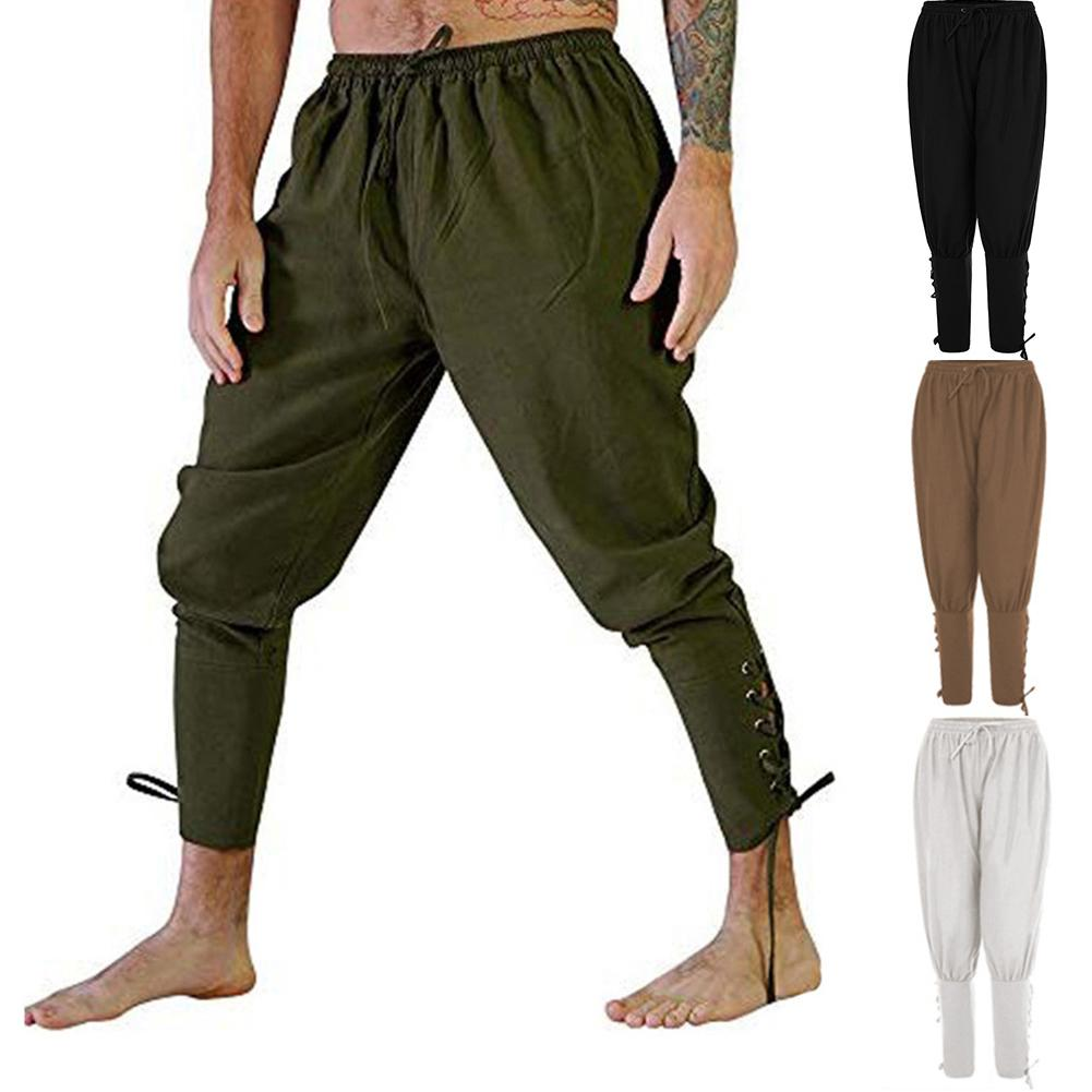Adult Men Medieval Renaissance Lounge Pirate Horseman Costume Loose Pants Viking Black Brown Navigator Leg Bandage Trouser