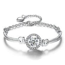Ice River Charm Women Chain Metal Bracelet Female AAA Cubic Zirconia Beads DIY Bracelets Trendy Jewelry homod charm heart shape bracelet 65mm cubic zirconia silver color smooth brand bracelets
