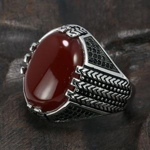Image 3 - Real puro 925 prata esterlina anéis com pedra ônix preto grande turco anéis para homens retro vintage turquia jóias anelli uomo