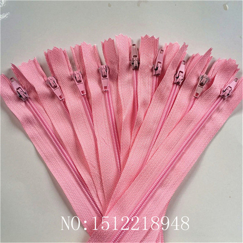 10 шт. 3 дюйма-24 дюйма(7,5 см-60 см) нейлоновые застежки-молнии для шитья на заказ нейлоновые молнии оптом 20 цветов - Цвет: pink