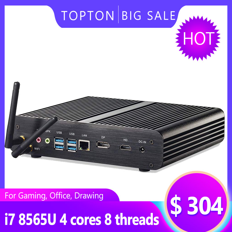 Topton Nuc Fanless Gaming PC Intel Core i7 8565U 8550U Whiskey Lake 4 Core 8 Threads 2*DDR4 M.2 PCIe Computer DP HDMI HTPC Wifi image