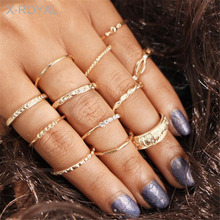 X-ROYAL 15Pcs/set Fashion Women Knuckle Rings Vintage Portrait Coin Cross Flower Pattern Love Classic Gold Alloy Finger