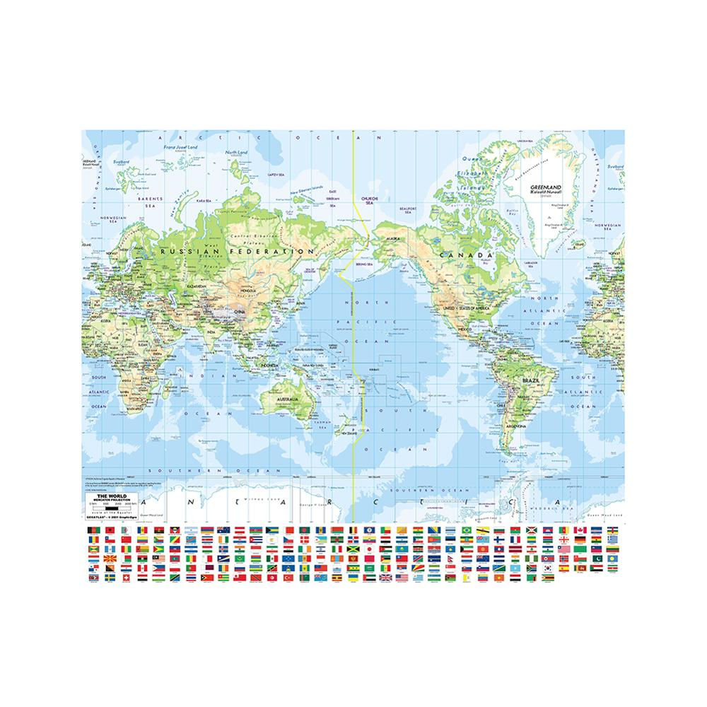 The World Map Mercator Projection 90x90cm Non-woven Inkjet Hd World Map With National Flag