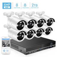 BESDER 8CH 4MP POE Kit de système de caméra de sécurité H.265 POE caméra IP IR extérieur étanche maison CCTV vidéo Surveillance NVR Kit P2P
