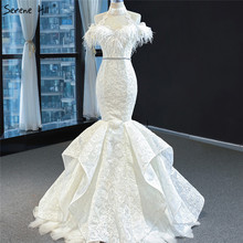 White Short Sleeve Sexy Evening Dresses 2020 Mermaid Lace Beading Feathers Formal Dress Serene Hill HM67032