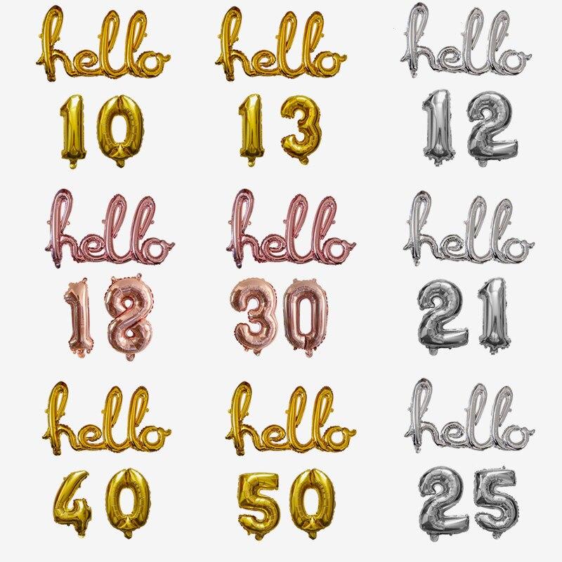 1 Набор из розового золота Hello 30 Фольга шары-цифры 18 20 21 25 30 40 50 День рождения украшения детские игрушки, надувные воздушные шары