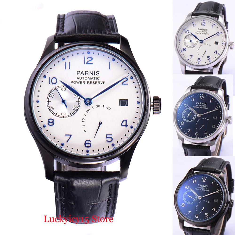 4 Models PARNIS 43mm Automatic Men Watch Power Reserve Indicator Date Window <font><b>ST2530</b></font> Movement Wristwatch image