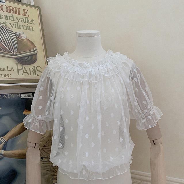 2 Color New Kawaii Lolita Lace Shirt Feamle Heart-shaped Blouse Tops Wooden Ears Mesh Short-sleeved Shirts Mujer 5