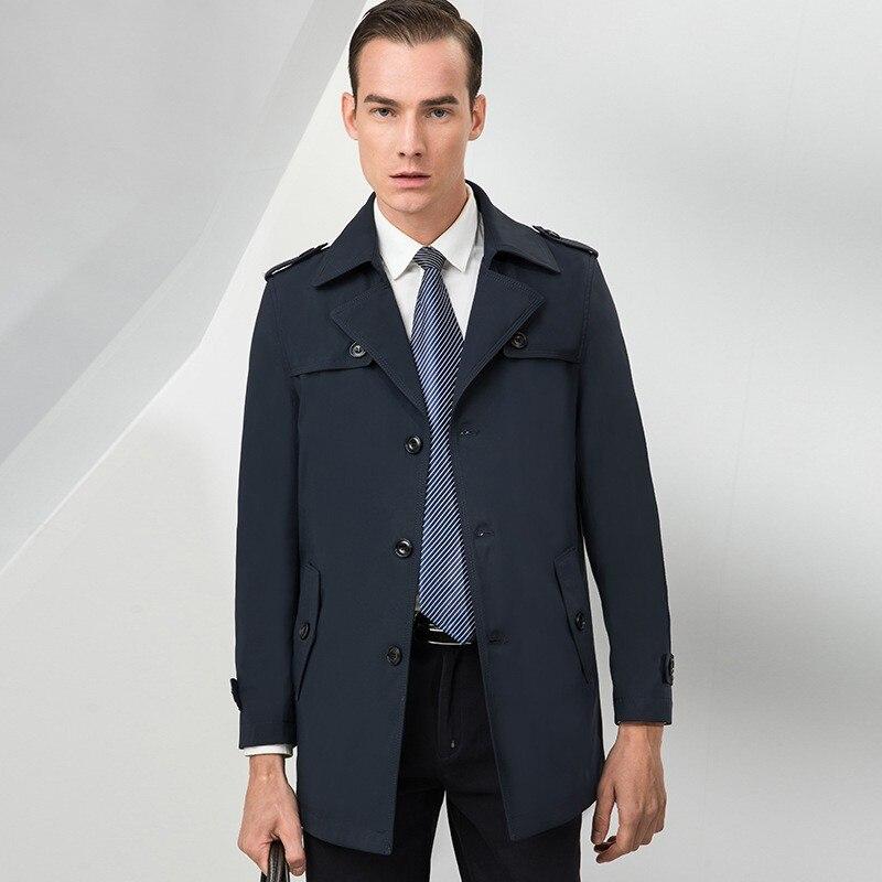 Printemps automne nouvelle marque à manches longues simple boutonnage revers hommes manteaux solides longueur moyenne en vrac décontracté coupe vent mâle Trench manteaux - 2
