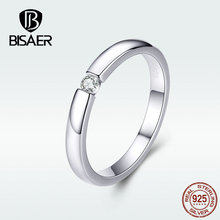 BISAER Finger Ring Authentic 925 Sterling Silver Fashionable Simple Wedding Zircon Stackable For Women Jewelry HSR541