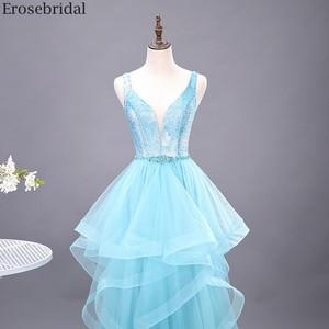 Image 3 - Erosebridal שמיים כחולים שמלה לנשף 2020 חדש אופנה שכבות שמלת ארוך פורמליות שמלת ערב שמלת מסיבת פתוח חזור V צוואר
