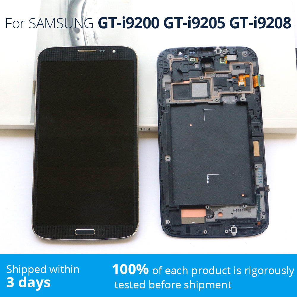 Cellphone Scree  Mega 6,3 Pantalla For SAMSUNG I9200 I9205 I9208 LCD Pantalla Digitalizador Para GALAXY Mega   6,3 Pantalla Lcd