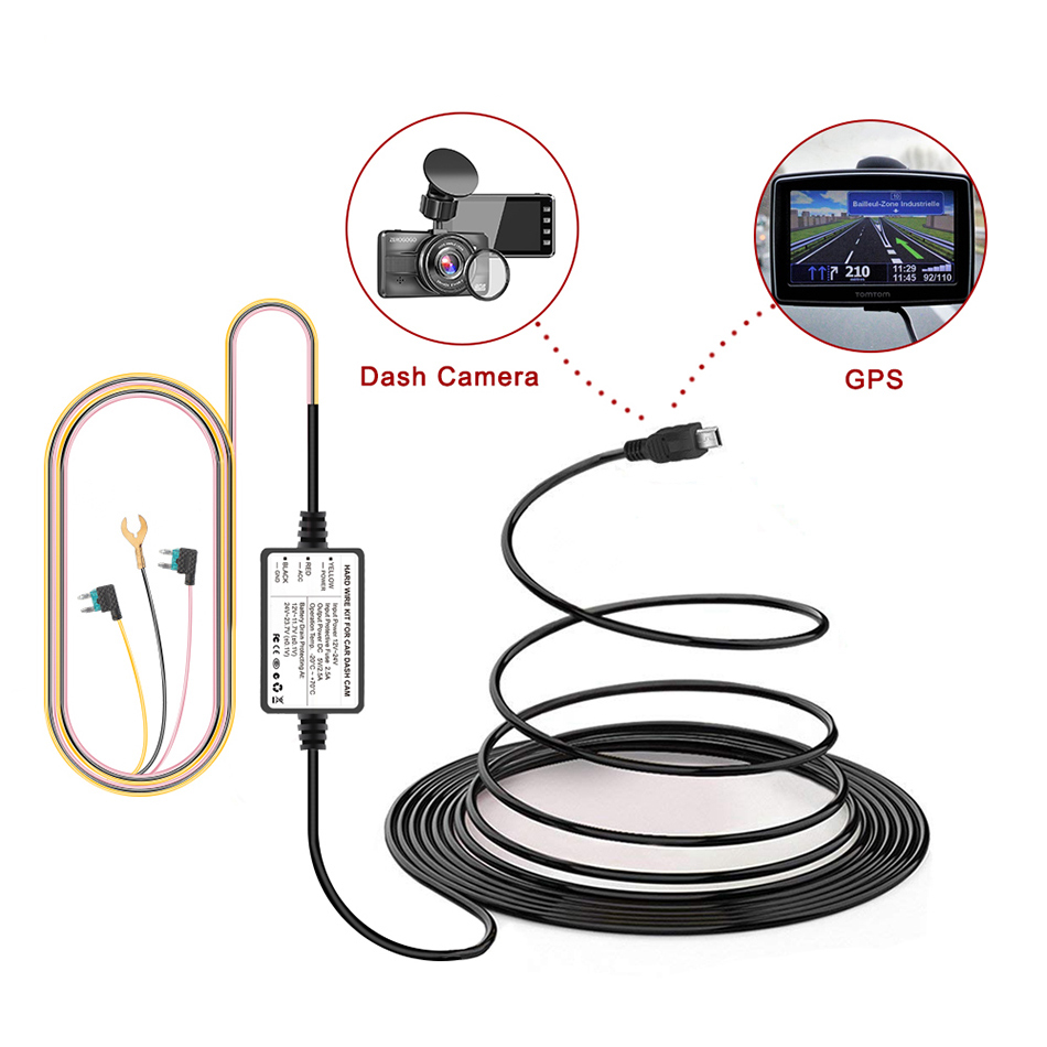 """Hardwire USB Car Charger power cord Kit for 2.7/"""" CARWAY F30 Camera DVR Recorder"""