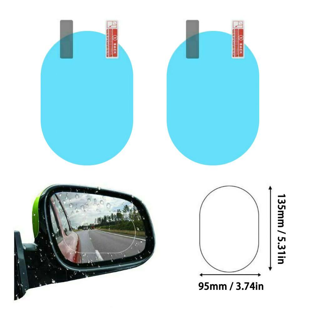 2Pcs Car Rear Specchio Pellicola Protettiva Anti Fog Finestra Trasparente Antipioggia Rear View Mirror Protettiva Morbida Pellicola Anti-glare Pellicola Trasparente