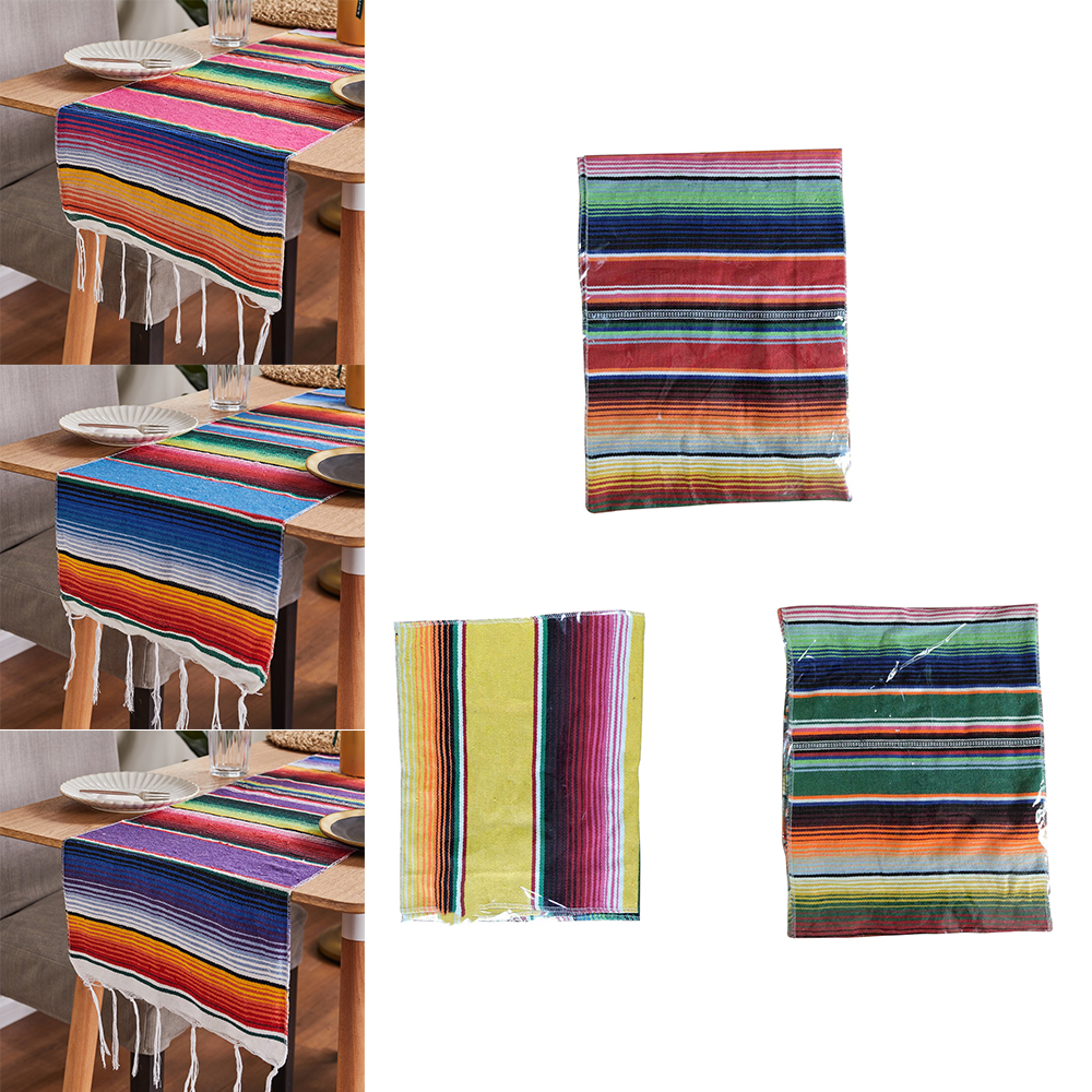 Useful Cotton Mexican Table Flag Blanket Rainbow Blanket Woven Blanket Table Flag Bed Flag Tablecloth Picnic Mat Picnic Blanket image