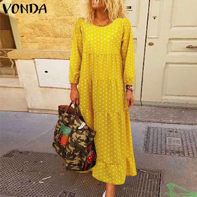 Dot Printed Long Maxi Dress 2020 VONDA Casual O Neck Lantern Sleeve Bohemian Dresses Plus Size Autumn Party Sundress S-5XL Robe