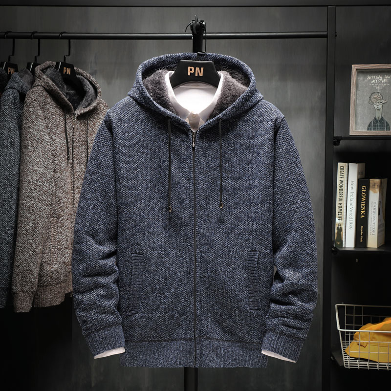 Men Sweater With A Hood Think 2020 New Winter Plus Velvet To Keep Warm Zipper Male Knitted Cardigan Student Coat Hot Sale M68