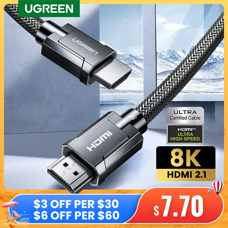 UGREEN HDMI Cable for Xiaomi Mi Box HDMI 2.1 Cable 8K/60Hz 4K/120Hz 48Gbps HDR10+ Digital Cable for PS5 HDMI Splitter Cable HDMI