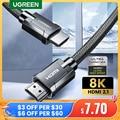 UGREEN HDMI кабель для Xiaomi Mi Box HDMI 2,1 кабель 8 к/60 Гц 4 к/120 Гц 48 Гбит/с HDR10 + цифровой кабель для PS5 HDMI сплиттер кабель HDMI