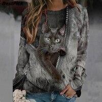 Kawaii czarny kot Zipper drukuj kobiety t-shirty Casual wycięcie pod szyją z długim rękawem Lady Tee Plus rozmiar luźne estetyczne pulowerowe topy