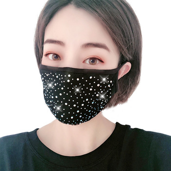 2020 Fashion Bling Colorful Crystal Cover Face Jewelry Cosplay Face Mask Decor Shiny Party Gift
