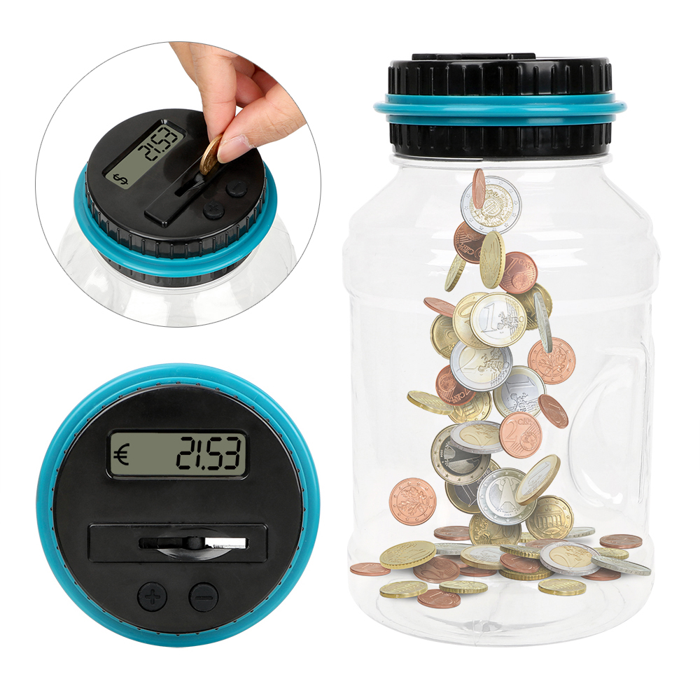 Piggy Bank For USD EURO 1.8L Money Saving Box Large Capacity Coins Storage Jar ABS Digital LCD Screen With Automatic Counter