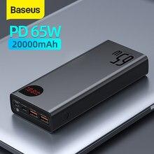 Baseus-Banco de energía de 22,5 W/ 65W, 20000mAh, portátil, de carga rápida, tipo C, PD, Qucik, cargador de batería externo