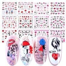 12 sztuk romantyczne walentynki wody naklejki suwaki do paznokci dekoracje artystyczne naklejki Sexy usta kwiat serce tatuaż okłady JIBN1069 1080