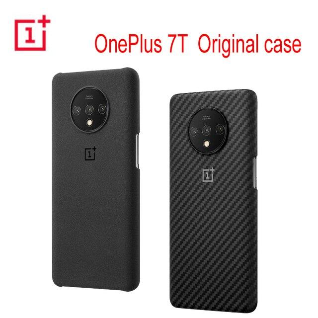 الأصلي الرسمي OnePlus 7T واقية حافظة كاربون الحجر الرملي النايلون الوفير الغطاء الخلفي شل ل OnePlus 7T