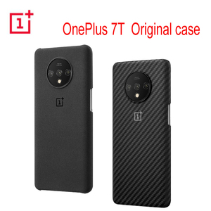 Image 1 - Original Official OnePlus 7T Protective Case Karbon Carbon Sandstone Nylon Bumper Case Back Cover Shell for OnePlus 7T