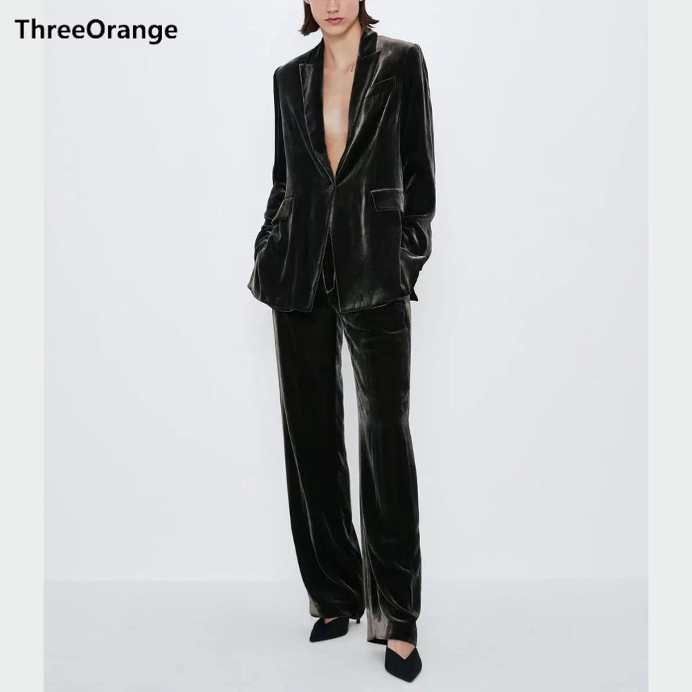 ZA Women Casual Suits Blazer-set Velvet Pocket Full Sleeve Top & Loose Trousers Stylish Office Lady Coat Female Suits