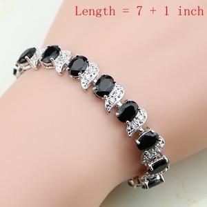 Image 2 - Ensembles de bijoux de mariée en argent 925, pierres noires, cristal blanc, boucles doreilles, pendentif, collier, bagues, Bracelet, pour dames