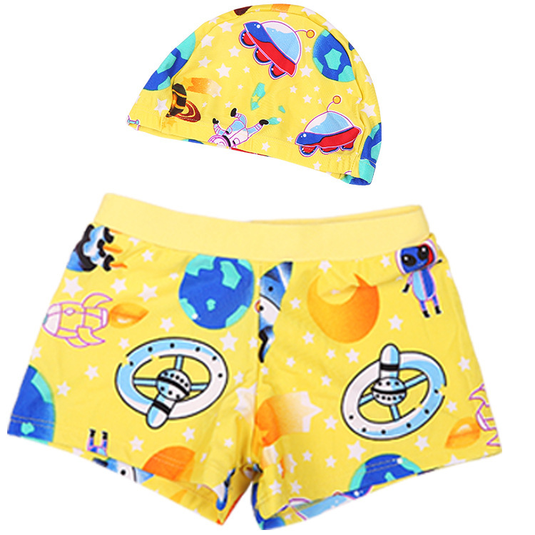 CHILDREN'S Swimming Trunks BOY'S Boxer Swimming Trunks Set With Hat Summer Baby Boy Swimming Trunks Wholesale