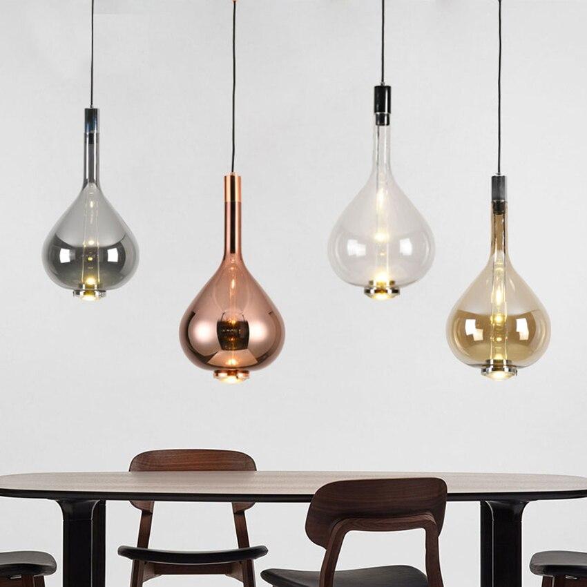 Moderne Designer Kunst Bunte LED Anhänger Lichter Beleuchtung Glas Lange Linie Anhänger Lampe Restaurant Innen Café Decor Leuchte