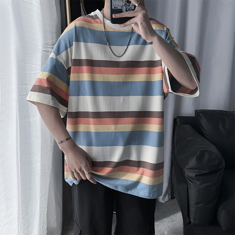 2020 <font><b>Hong</b></font> <font><b>Kong</b></font> Style Striped Short-sleeved T-shirt Men's Summer Trend Loose Couple Super Fire Half-sleeved Bottoming <font><b>Tshirt</b></font> image