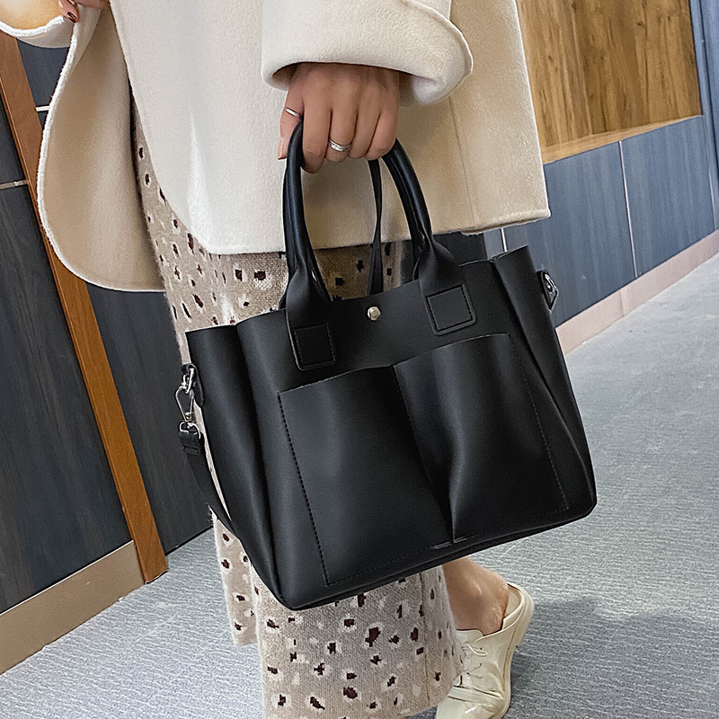 с доставкой Large Double pocket PU Leather Shoulder Bags for Women 2020 Fashion Handbags and Purses Female Travel Trend